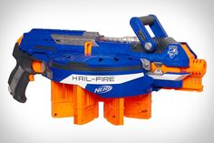 NERF N-STRIKE ELITE HAIL-FIRE BLASTER  Take your lunch break warfare to a whole new level with the Nerf N-Strike Elite Hail-Fire Blaster ($40). Packing eight quick reload clips that rest in a rotating ammo rack, this Elite Dart-firing monster holds up to 144 rounds, and offers the ability to hit targets up to 75 feet away, two tactical rails for accessorizing, and a special acceleration trigger that activates a motor for semi-automatic firing. Ready your cubicle accordingly.  http://uncrate.com/stuff/nerf-n-strike-elite-hail-fire-blaster/#