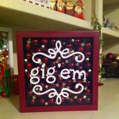 """Aggie """"gig'em"""" Christmas Decor, of course I would have to make a Longhorns one too! holiday, aggi christma, gift, christmas vinyl projects, christma vinyl, christma decor, aggi gigem, gold christmas, texas aggies crafts"""