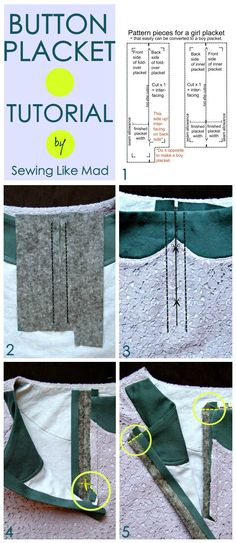 Sewing Like Mad: Classic Button Placket Tutorial.