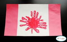 handprint Canadian maple leaf flag...