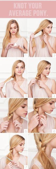 Easy and cute for long hair :) hair-styles diy hairstyles, beach waves, hair tutorials, long hair, homecoming hair, girl hairstyles, pony tails, knot, curly hair