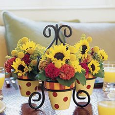 Gail Pittman Hand Painted Pots & Stand: Siena