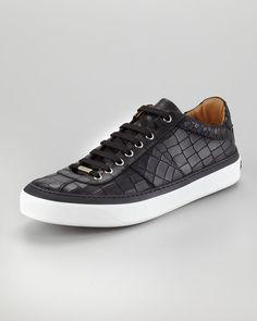 Jimmy Choo Portman Crocodileembossed Sneakers in Black for Men - Lyst