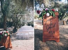 wooden ceremony sign