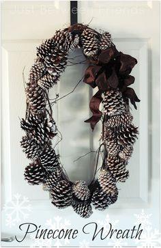 Just Between Friends: DIY Pinecone Wreath #diy #wreath #winter