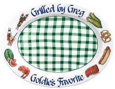 Green Gingham BBQ Platter