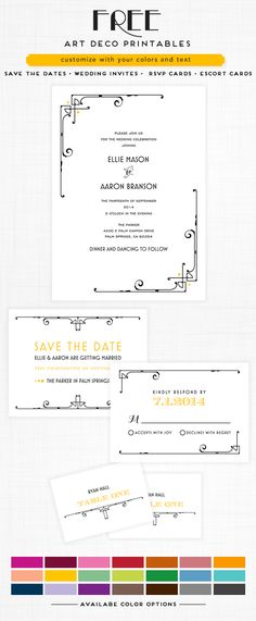 Free Art Deco Wedding Printables save the dates • invites • rsvp cards • escort cards. Your color, Your Words http://www.weddingchicks.com/freebies/invitation-suites/art-deco-free-printable-wedding-invitation-suite/