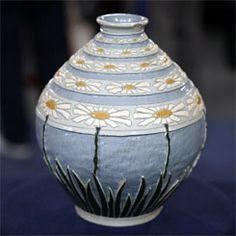 Roseville Pottery adapt art, beauti della, art potteri, delight daisi, ceram, roseville pottery, daisi delight, art deco, rosevill potteri