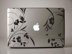 Lirenda Floral - macbook decal mac decal macbook sticker macbook air macbook pro decal. $11.99, via Etsy.