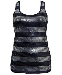 Forever 21 Striped Sequin Tank Navy and Silver