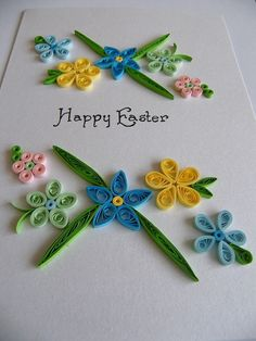 Quilled Happy Easter greeting card by vaidaaa on Etsy