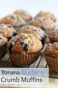 Banana Blueberry Crumb Muffins | Real Housemoms | The kids will love these for back to school blueberry banana muffins, banana muffin recipe blueberry, blueberri crumb, bananas, banana blueberri, banana blueberry crumb muffins, crumbed banana, blueberry and banana muffins, banana blueberry muffins