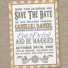 Fun Retro Vintage Style Save the Date Wedding Announcement