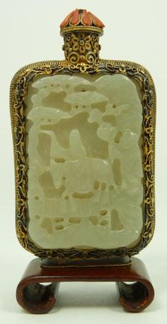 CHINESE INLAID JADE & SILVER SNUFF BOTTLE W/ CORAL