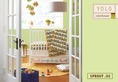 Inspired by fresh spring buds, Sprout .05 is the perfect backdrop hue for gender-neutral nurseries.  It comes to life when paired with crisp, white furniture and colorful accents, like Land of Nod 1001 Good Nights Crib Quilt.