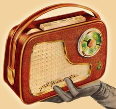transistor radio in a gloved hand