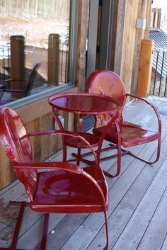 Cute Restored And Powdercoated 3 Piece Vintage Chair And Table Combo.Wonderful Burgundy Color!