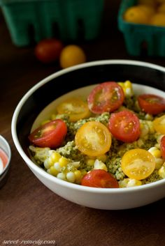 Pesto Quinoa with Local Tomatoes and Corn