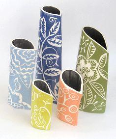 clay slab vases