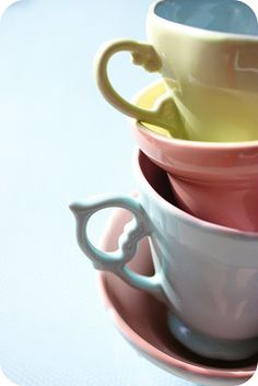 pastel tea cups, colorful photography