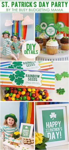 The Busy Budgeting Mama: St. Patrick's Day Party - DIY Details (Printables, Treat Bag Tags, DIY Rainbow Backdrop, Banner Printable, Cupcake toppers and more!)