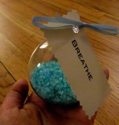 DIY bath salt recipe then put into clear ornaments for Christmas gifts!!
