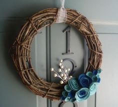Rustic blue wreath