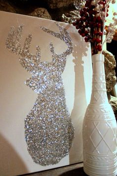 Loooovvveee this!!  Deer stencil and put glitter inside on canvas