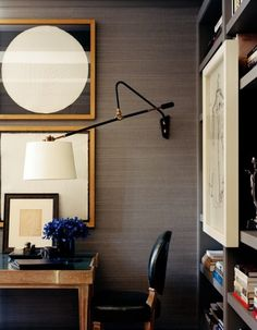 Wall lamp over a desk
