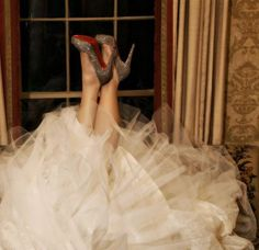 sparkly Louboutins & a tulle dress wedding dressses, wedding shoes, sparkly shoes, heel, glitter shoes, the dress, wedding photos, christian louboutin, bridal shoes
