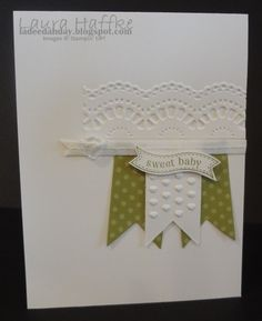 Cute Baby Card - Itty Bitty Banners stamp set and matching Framelits, Vintage Faceted Button, Delicate Details TIEF,  by It's a La Dee Dah Day!