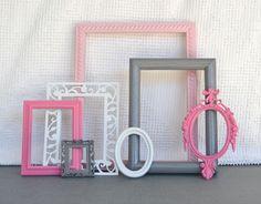 Pinks, Grey White Smaller Frames Set of 7 - Upcycled Painted Ornate Frames Girls or Nursery bedroom decor. $40.00, via Etsy.