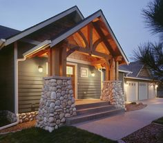 Craftsman Homes Northwest Custom Homes -  love the beams. The front porch peak or screened in?