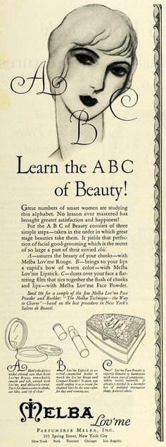 1928 Ad Parfumerie Melba Lov'me Face Powder Beauty (via periodpaper)