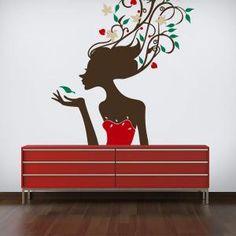 Vinilo Silueta Mujer Tropical
