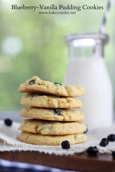 Blueberry Vanilla Pudding Cookies | Bake Your Day