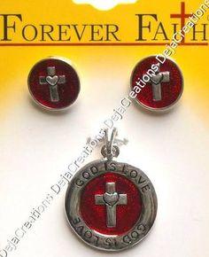 GOD IS LOVE Pendant & Earrings Cross Silver Red at eBay #SYLink