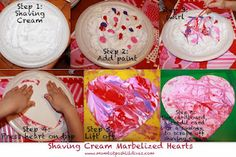Shaving Cream Marbelized Heart Art = messy painting fun w/gorgeous results for Valentine's Day
