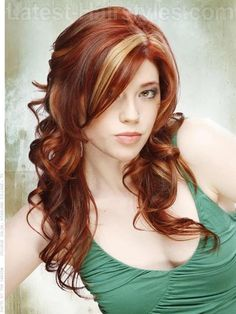 Rich, copper-colored hair paired with lighter and brighter copper highlights and gold accents mirror a beautiful sunrise