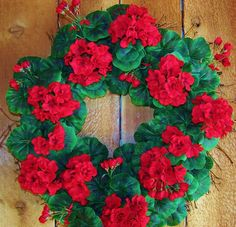 RUSTIC RED GERANIUM Floral Twig Door by DesigningCreations on Etsy, $75.00