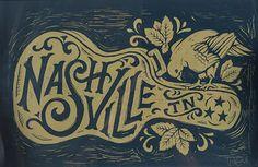 Nashville Song Bird - Block Print by Derrick Castle song, color schemes, block prints, letter, font, art prints, castles, birds, nashville design