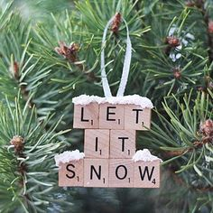 DIY Scrabble Tile Ornament - Let It Snow