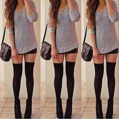 Knitted sweater, black bodycon skirt & knee high socks. OMG so adorable!
