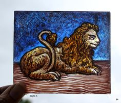 Stained Glass Window piece, Heraldic, Lion, Couchant, Hand Painted, kiln fired, new fragment, Ref: 30J13-5