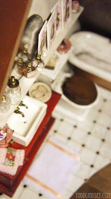 Dollhouse Bathroom Reveal! Tons of DIY tutorials.
