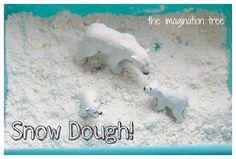 Snow Dough Recipe for Winter Sensory Play! - The Imagination Tree