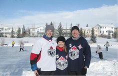 Reid Kimmett, left, Leslie Erven and Martin Parnell were at last year's Kimmett Cup at Mitford Pond in Cochrane. The fundraiser was held in honour of Kimmett's older sister Lindsay, who played hockey and studied medicine at the University of Calgary. This year, the group will try to raise $ 100,000 for Right To Play while breaking a Guinness World Record!