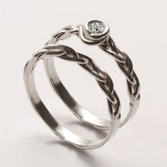 Braided Wedding Ring Set - 14K White Gold and Diamond engagement ring, unisex ring, engagement ring, wedding band, stackable rings. $590.00, via Etsy.