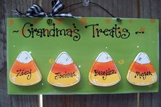 Personalized Halloween sign w 4 Candy Corn Cute Fall Autumn sign country wood crafts sweets Trick or Treat Grandma Nana Abuela
