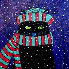 """""""Chillin Cat"""" Beverly Fish Wallaceburg, Ontario, Canada  #cat #cats #catart #kitten #kitty #kitties #art #illustration #painting #winter"""